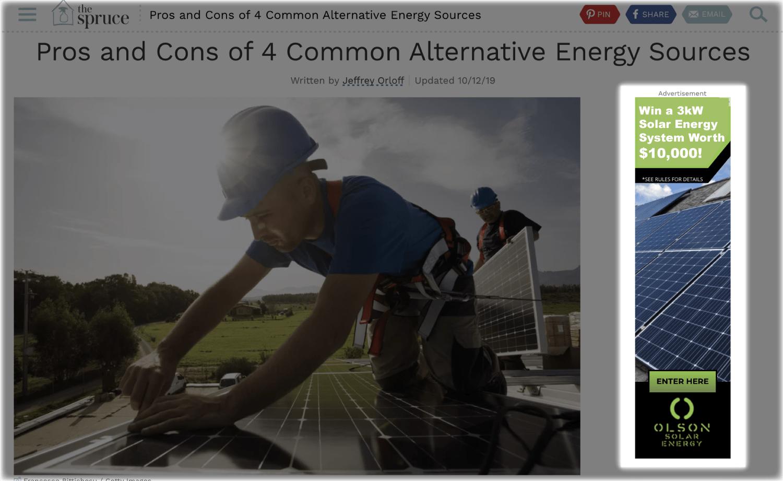 Olson Solar Energy targeted display ad