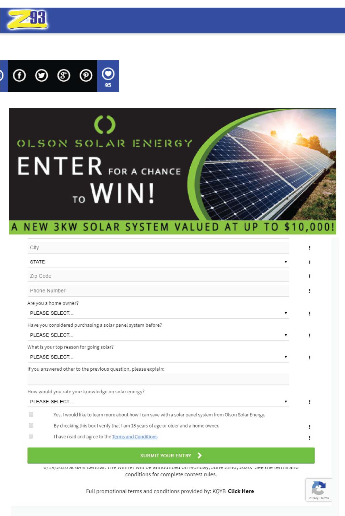 Olson Solar Energy contest form