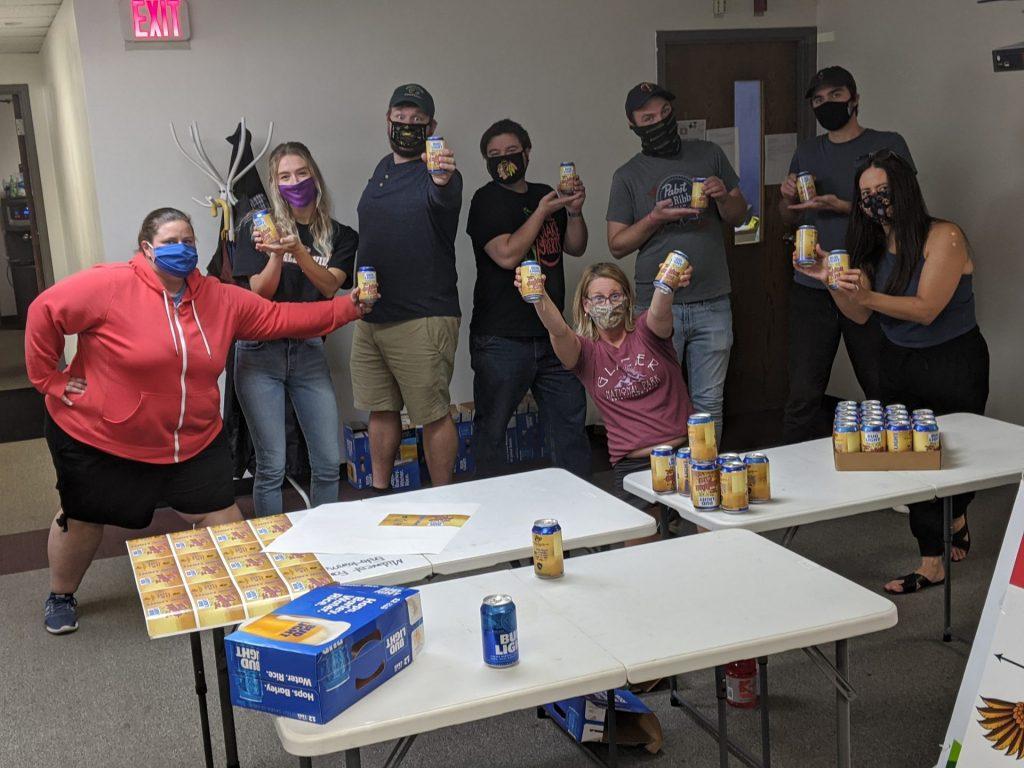 Coworkers celebrating Oktoberfest in the office