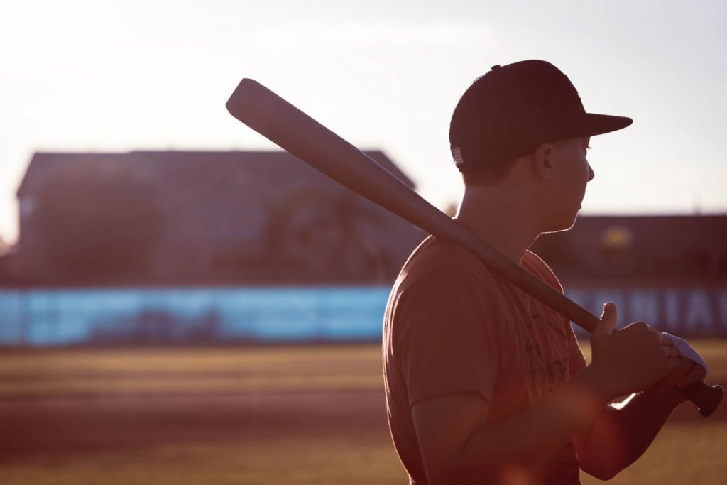 Young baseball player holding a bat